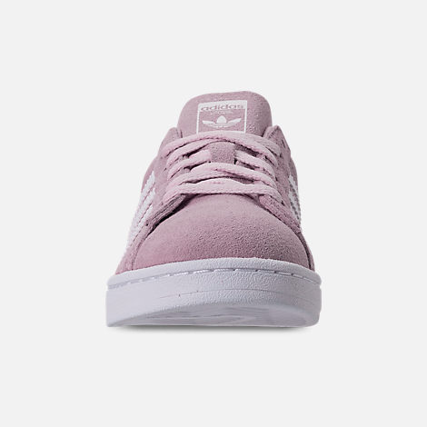 Front view of Girls' Little Kids' adidas Campus adicolor Casual Shoes in Aero Pink/Footwear White