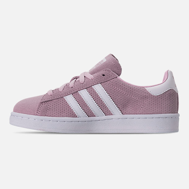 Left view of Girls' Little Kids' adidas Campus adicolor Casual Shoes in Aero Pink/Footwear White