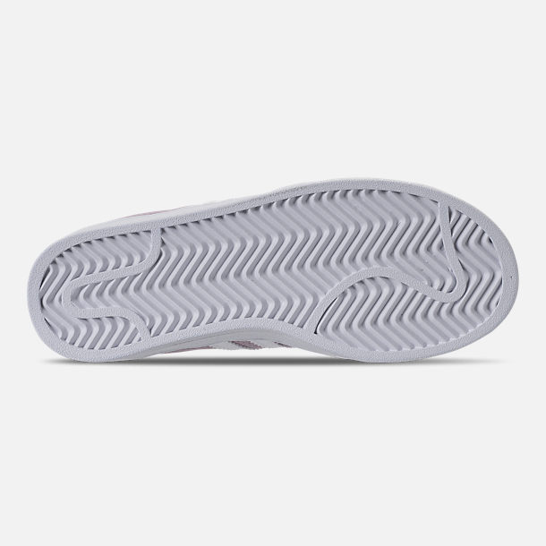 Bottom view of Girls' Little Kids' adidas Campus adicolor Casual Shoes in Aero Pink/Footwear White