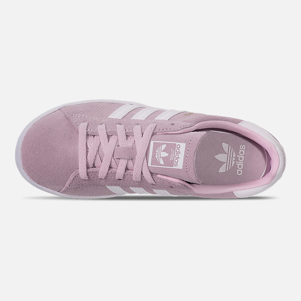 Top view of Girls' Little Kids' adidas Campus adicolor Casual Shoes in Aero Pink/Footwear White