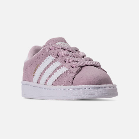 Three Quarter view of Girls' Toddler adidas Campus adicolor Casual Shoes in Aero Pink/Footwear White