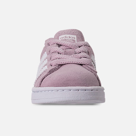 Front view of Girls' Toddler adidas Campus adicolor Casual Shoes in Aero Pink/Footwear White