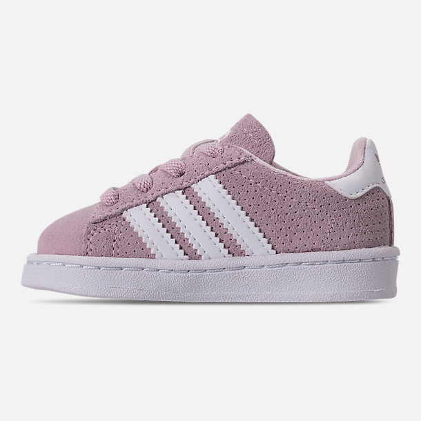 Left view of Girls' Toddler adidas Campus adicolor Casual Shoes in Aero Pink/Footwear White