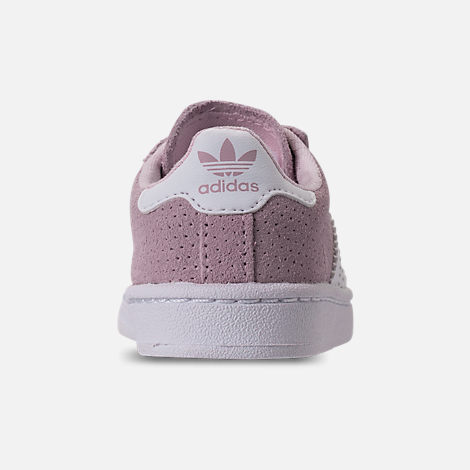 Back view of Girls' Toddler adidas Campus adicolor Casual Shoes in Aero Pink/Footwear White