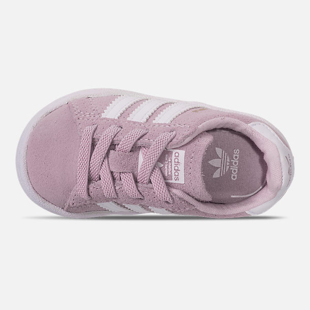 Top view of Girls' Toddler adidas Campus adicolor Casual Shoes in Aero Pink/Footwear White