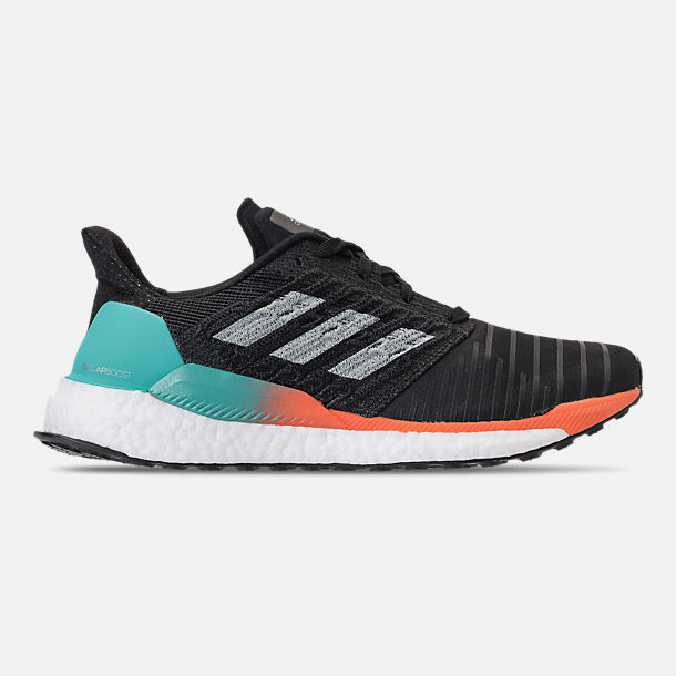 Right view of Men's adidas SolarBOOST Running Shoes in Core Black/Grey/Hi-Res Aqua