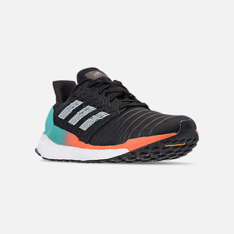 Three Quarter view of Men's adidas SolarBOOST Running Shoes in Core Black/Grey/Hi-Res Aqua