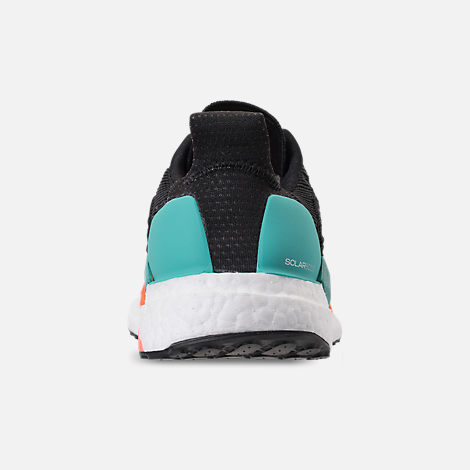 Back view of Men's adidas SolarBOOST Running Shoes in Core Black/Grey/Hi-Res Aqua