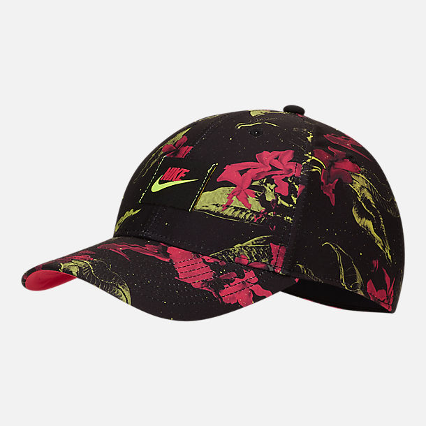Front view of Nike Sportswear Legacy 91 Graphic Adjustable Back Hat in Pink Limeade