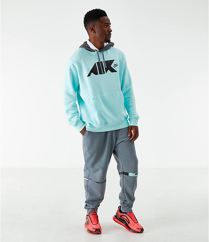 Front Three Quarter view of Men's Nike Sportswear Club Fleece Geometric Hoodie in Teal Tint/White