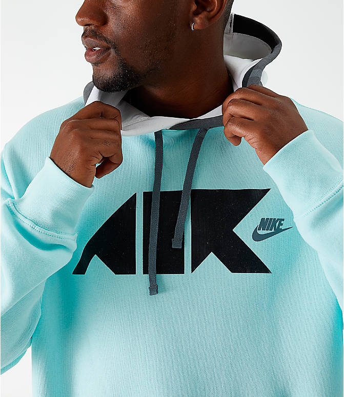 Back Right view of Men's Nike Sportswear Club Fleece Geometric Hoodie in Teal Tint/White