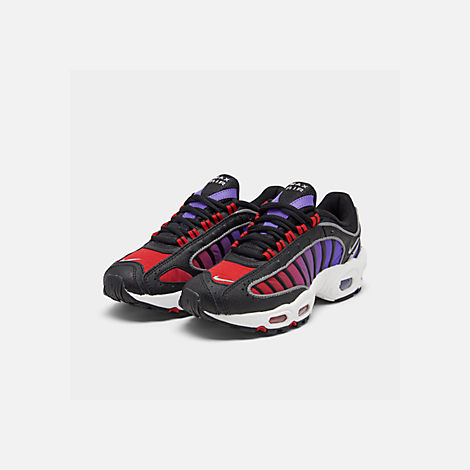 Three Quarter view of Women's Nike Air Max Tailwind 4 Casual Shoes in Black/White/Univ Red/Psychic Purple