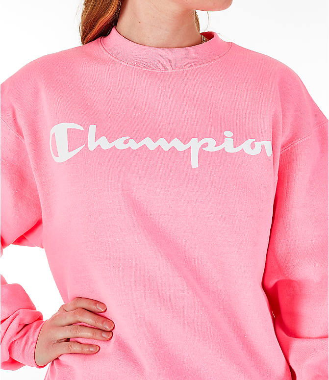 Detail 1 view of Women's Champion Powerblend Fleece Boyfriend Crew Sweatshirt in Pink