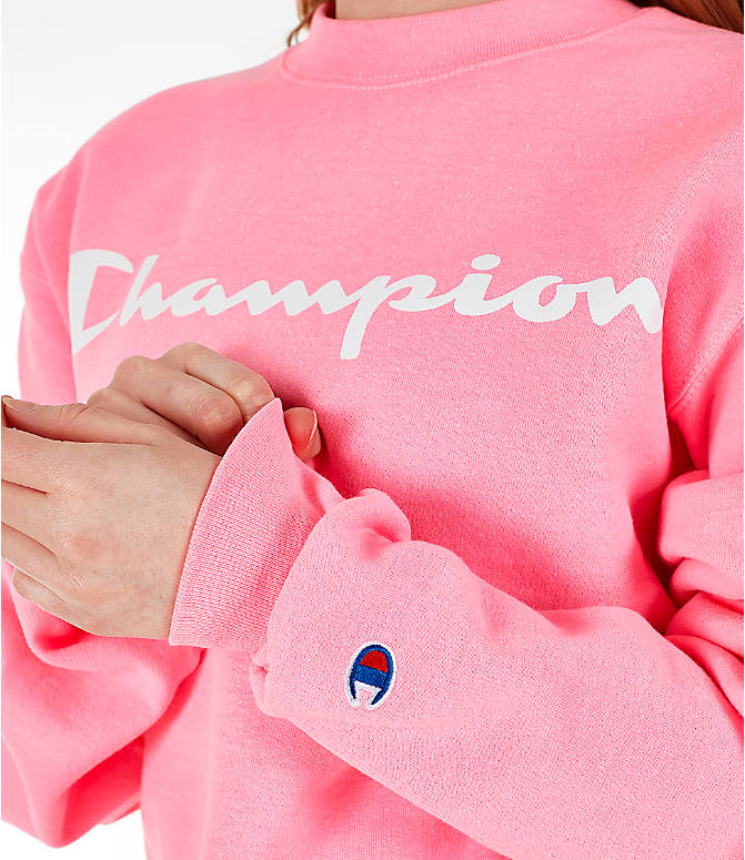 Detail 2 view of Women's Champion Powerblend Fleece Boyfriend Crew Sweatshirt in Pink