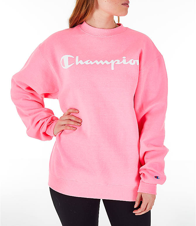 Front view of Women's Champion Powerblend Fleece Boyfriend Crew Sweatshirt in Pink