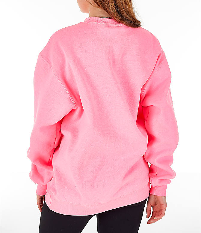 Back Left view of Women's Champion Powerblend Fleece Boyfriend Crew Sweatshirt in Pink