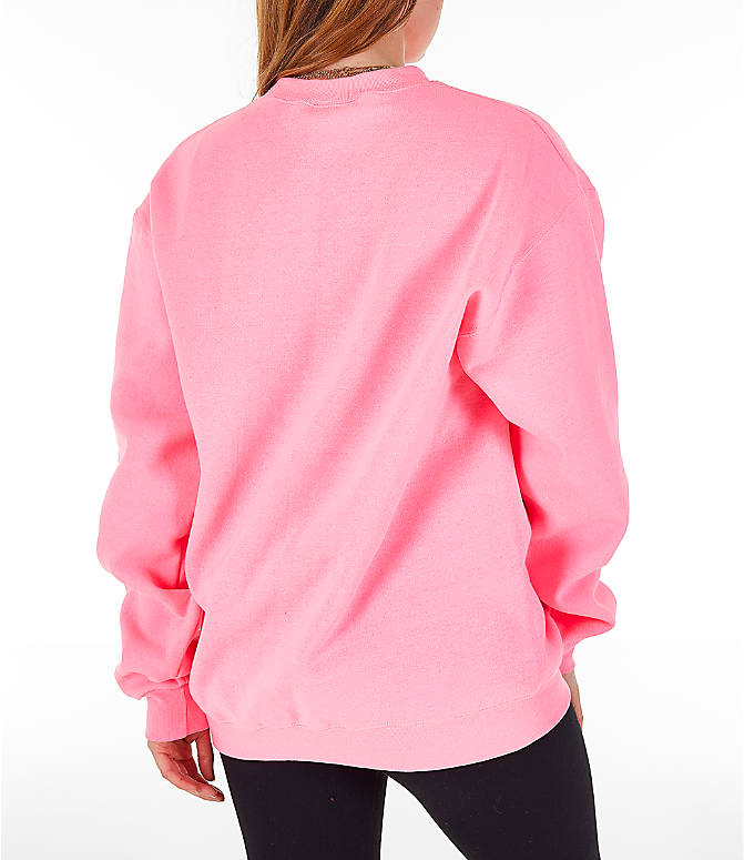 Back Right view of Women's Champion Powerblend Fleece Boyfriend Crew Sweatshirt in Pink