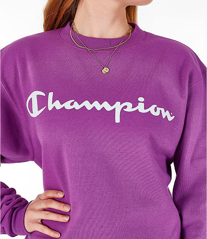 Detail 1 view of Women's Champion Powerblend Fleece Boyfriend Crew Sweatshirt in Purple