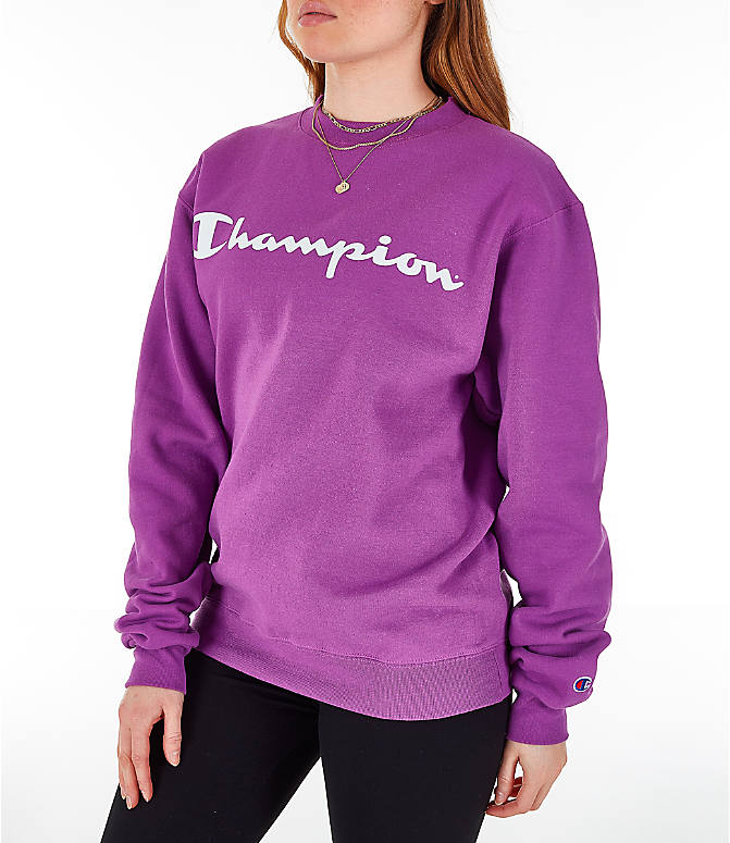 Front Three Quarter view of Women's Champion Powerblend Fleece Boyfriend Crew Sweatshirt in Purple