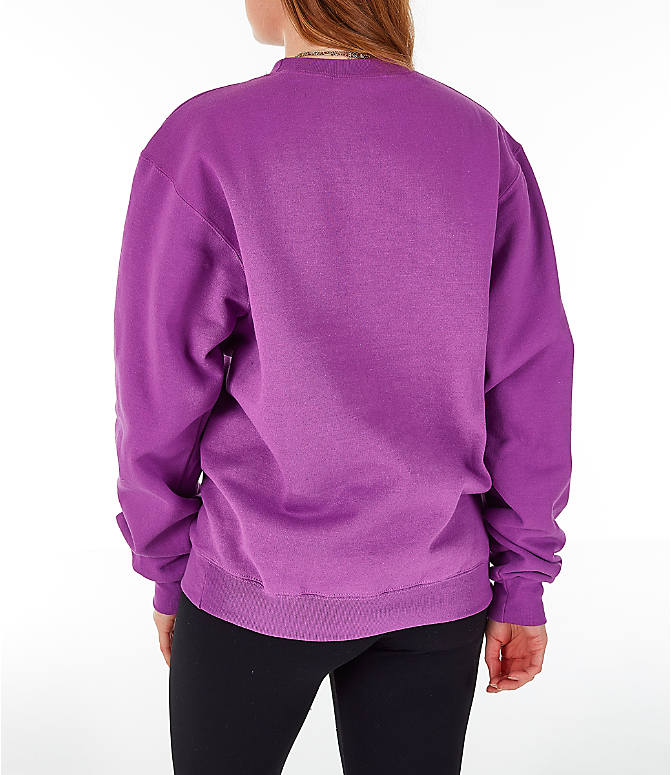 Back Left view of Women's Champion Powerblend Fleece Boyfriend Crew Sweatshirt in Purple