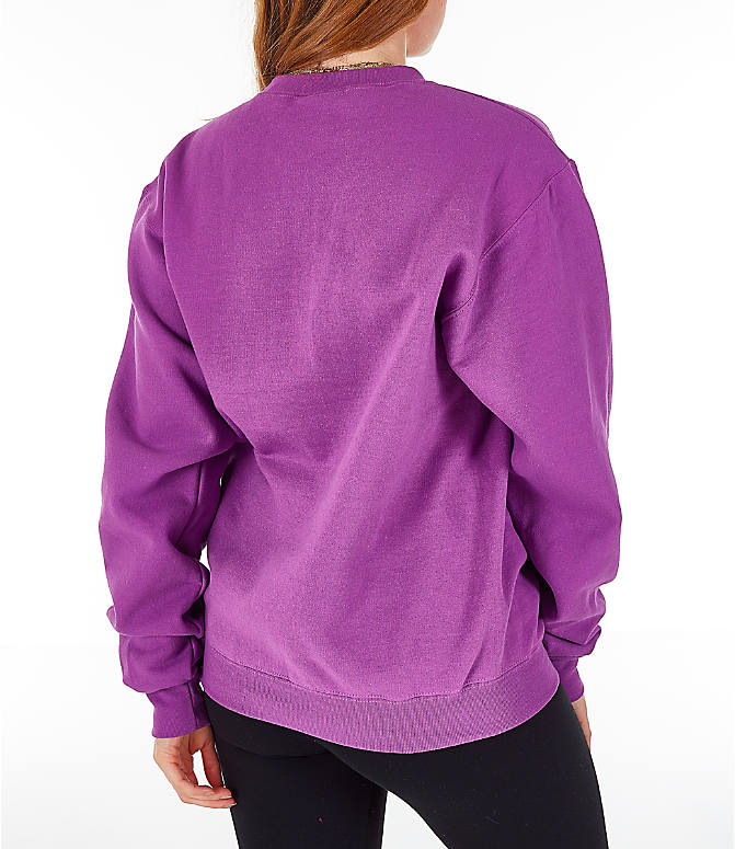 Back Right view of Women's Champion Powerblend Fleece Boyfriend Crew Sweatshirt in Purple