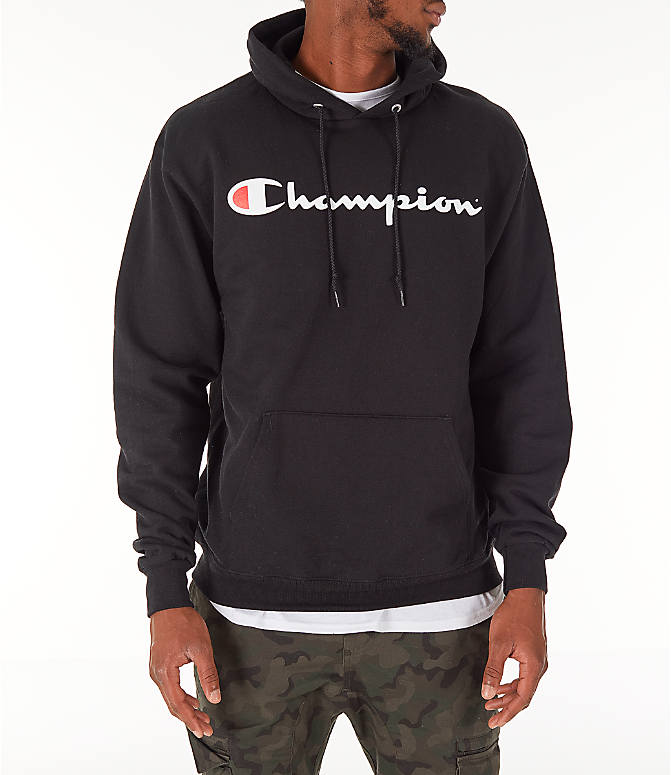 Front view of Men's Champion SC Graphic Hoodie in Black