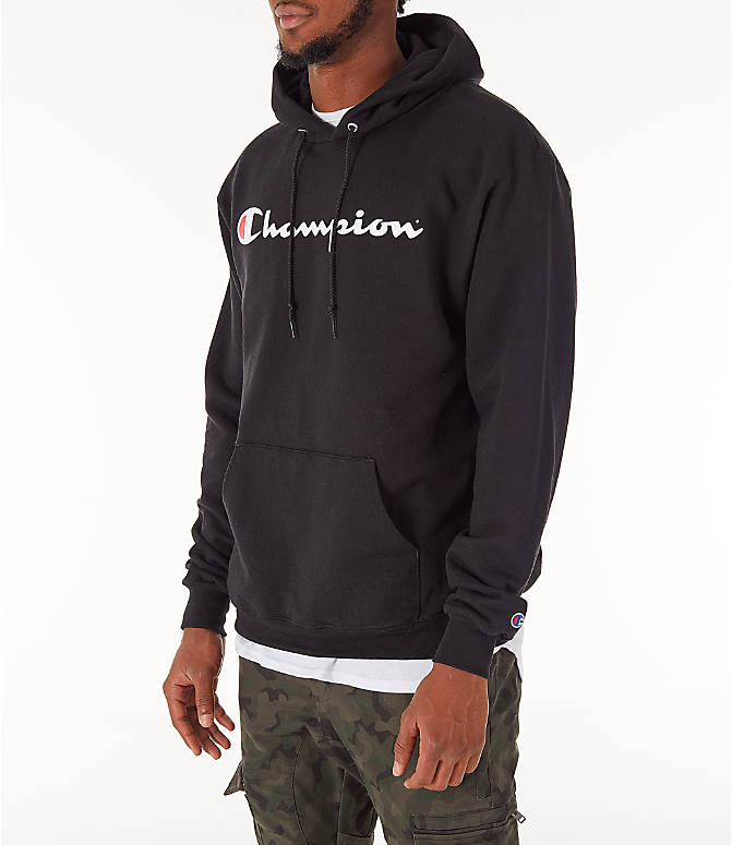 Front Three Quarter view of Men's Champion SC Graphic Hoodie in Black