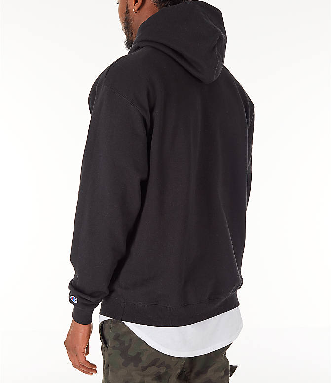 Back Left view of Men's Champion SC Graphic Hoodie in Black
