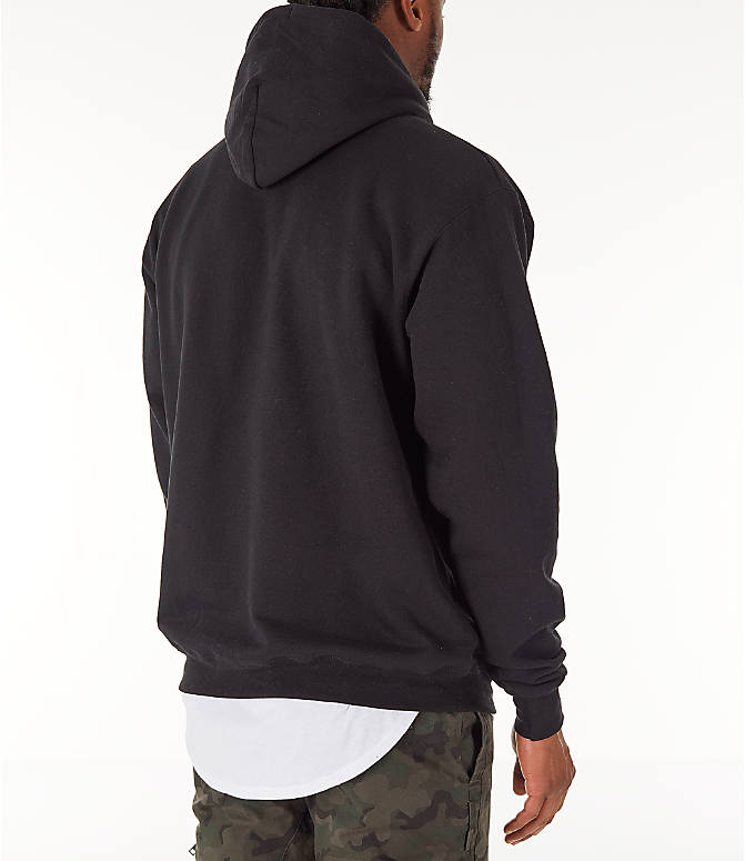 Back Right view of Men's Champion SC Graphic Hoodie in Black