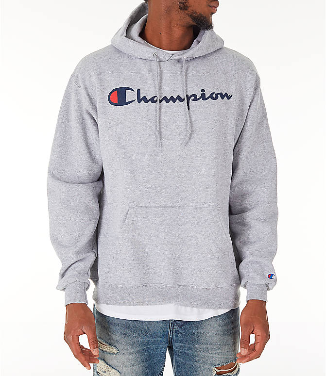 Front view of Men's Champion SC Graphic Hoodie in Grey