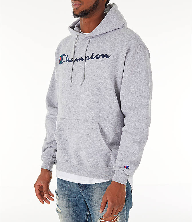 Front Three Quarter view of Men's Champion SC Graphic Hoodie in Grey