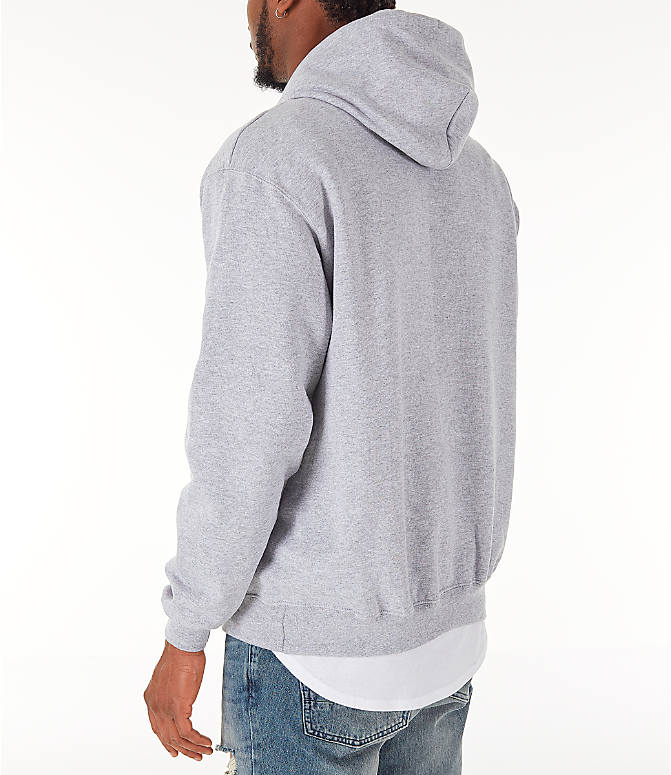 Back Left view of Men's Champion SC Graphic Hoodie in Grey