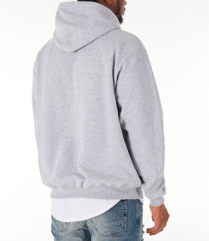 Back Right view of Men's Champion SC Graphic Hoodie in Grey