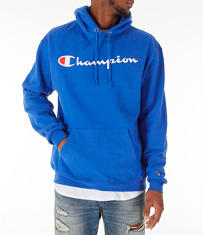 Front view of Men's Champion SC Graphic Hoodie in Royal