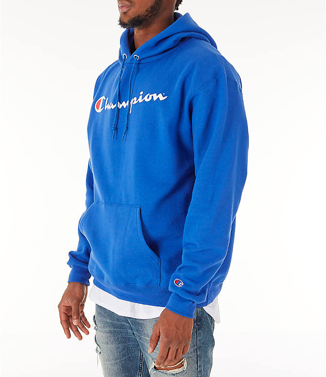 Front Three Quarter view of Men's Champion SC Graphic Hoodie in Royal