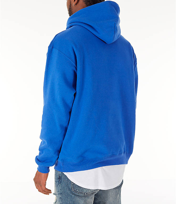 Back Left view of Men's Champion SC Graphic Hoodie in Royal