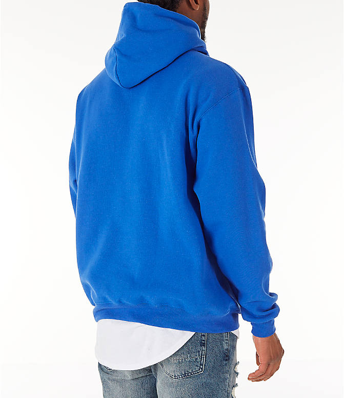 Back Right view of Men's Champion SC Graphic Hoodie in Royal