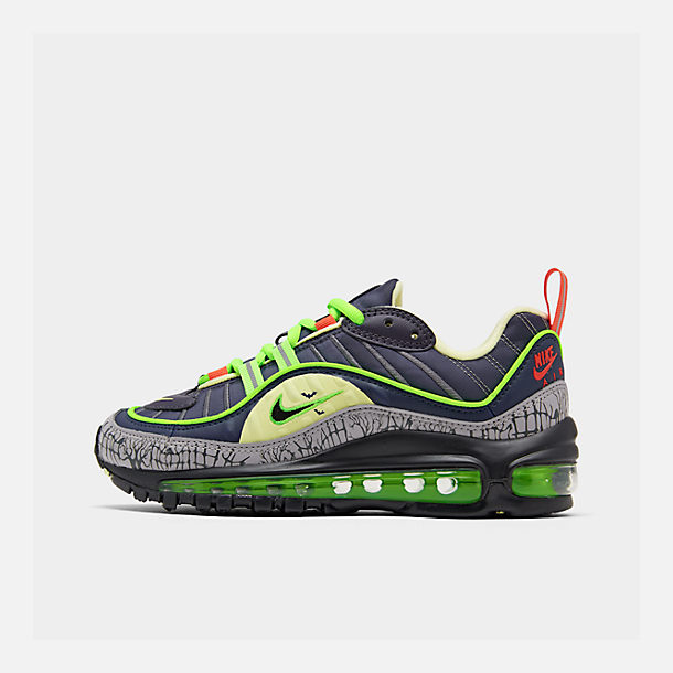 Right view of Boys' Big Kids' Nike Air Max 98 SE Casual Shoes in Gridiron/Black/Obsidian/Luminous Green