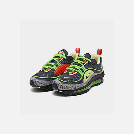 Three Quarter view of Boys' Big Kids' Nike Air Max 98 SE Casual Shoes in Gridiron/Black/Obsidian/Luminous Green