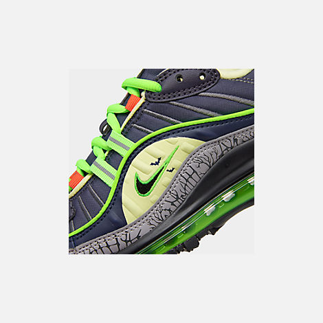 Front view of Boys' Big Kids' Nike Air Max 98 SE Casual Shoes in Gridiron/Black/Obsidian/Luminous Green