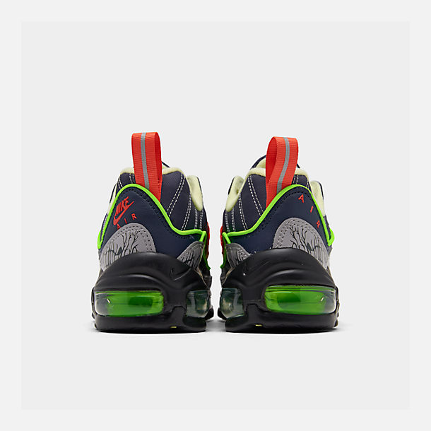 Left view of Boys' Big Kids' Nike Air Max 98 SE Casual Shoes in Gridiron/Black/Obsidian/Luminous Green