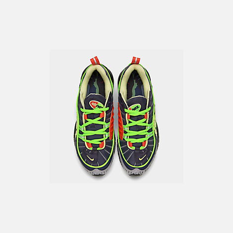 Back view of Boys' Big Kids' Nike Air Max 98 SE Casual Shoes in Gridiron/Black/Obsidian/Luminous Green