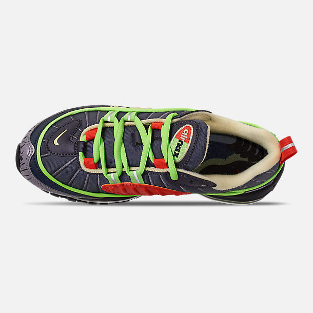 Top view of Boys' Big Kids' Nike Air Max 98 SE Casual Shoes in Gridiron/Black/Obsidian/Luminous Green