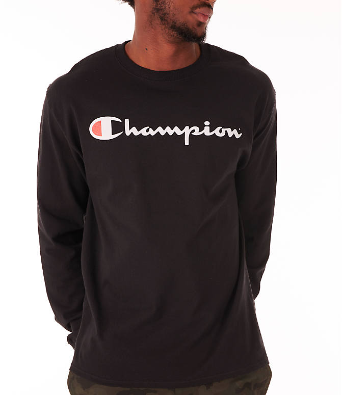 Detail 1 view of Men's Champion Script Long Sleeve T-Shirt in Black