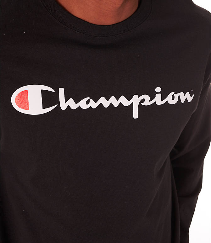 Detail 2 view of Men's Champion Script Long Sleeve T-Shirt in Black