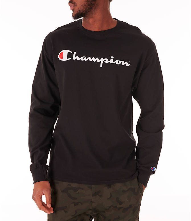 Front view of Men's Champion Script Long Sleeve T-Shirt in Black