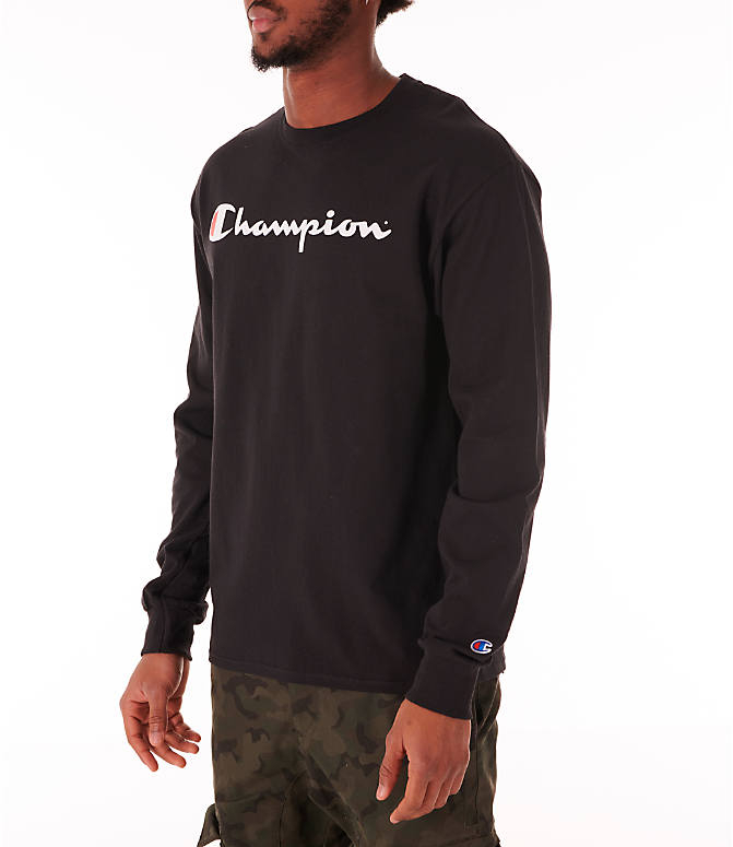 Front Three Quarter view of Men's Champion Script Long Sleeve T-Shirt in Black