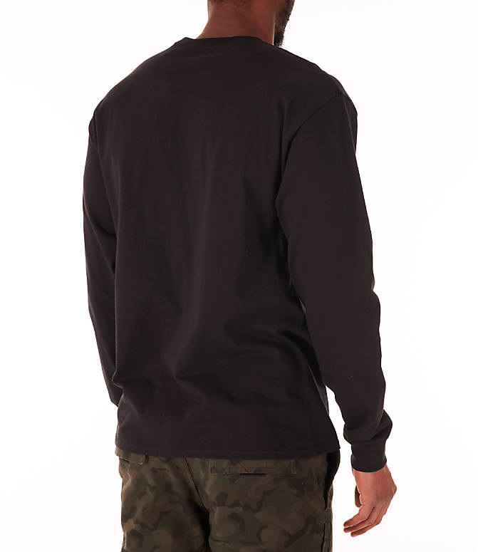 Back Right view of Men's Champion Script Long Sleeve T-Shirt in Black