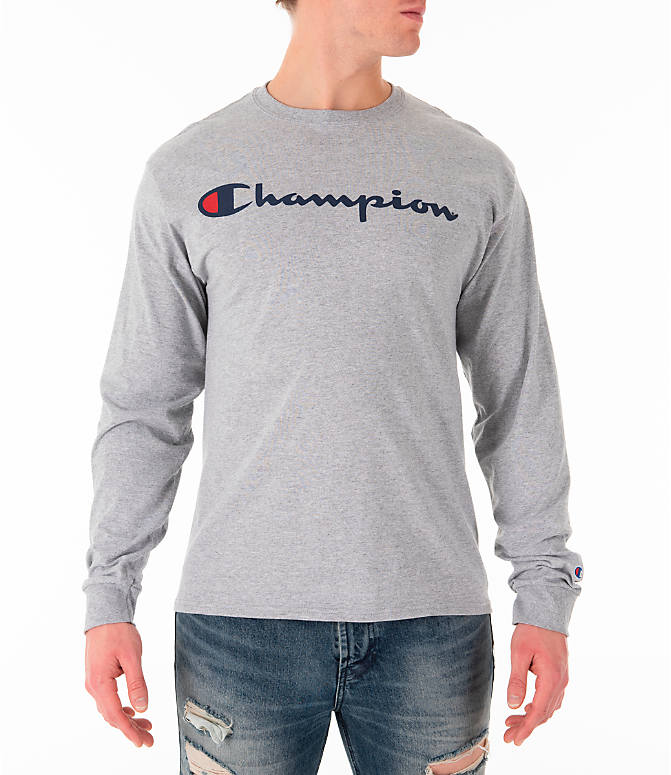 5485ef53034b Front view of Men s Champion Script Long Sleeve T-Shirt in Grey