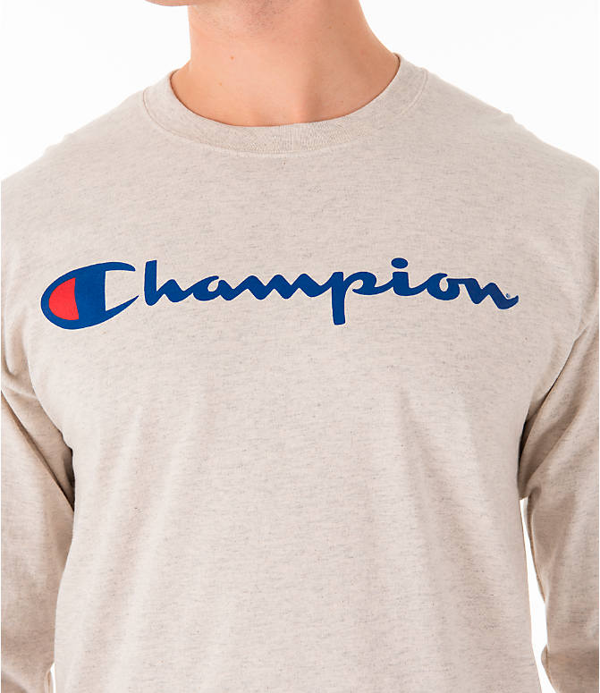 Detail 1 view of Men's Champion Script Long Sleeve T-Shirt in Oatmeal